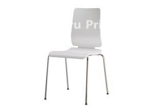 Стул дизайнерский, белый, шпон /хром, арт.49